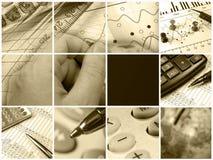 Collage con la célula vacía (sepia) fotos de archivo