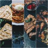 Collage con la comida imágenes de archivo libres de regalías