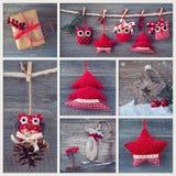 Collage con la decoración de la Navidad Imagen de archivo