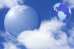 Collage con la esfera y la tierra transparentes Fotos de archivo