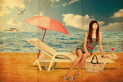 Collage con la giovane donna di bellezza, annata Fotografie Stock
