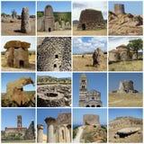 Collage con la herencia antigua de Cerdeña fotos de archivo libres de regalías
