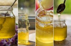 Collage con la miel en un tarro de cristal Fotografía de archivo