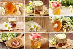 Collage con la miel fresca Foto de archivo libre de regalías