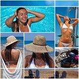 Collage con la mujer blanca en la playa Fotos de archivo libres de regalías