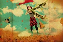Collage con la mujer joven de la belleza, vendimia Fotos de archivo