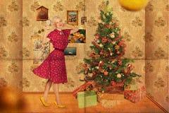 Collage con la mujer joven de la belleza, vendimia Imagenes de archivo