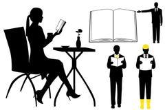 Collage con la siluetta della gente illustrazione di stock