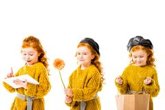 collage con la tableta, la flor y el panier elegantes de la tenencia del niño, imágenes de archivo libres de regalías