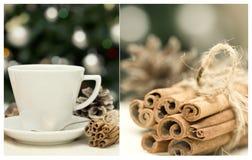 Collage con la tazza di tè e di cannella Fotografia Stock