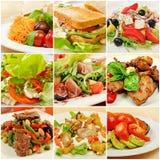Collage con las comidas Imágenes de archivo libres de regalías