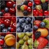 Collage con las frutas imagen de archivo