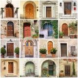 Collage con las puertas italianas Foto de archivo