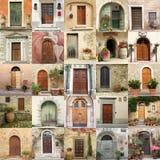 Collage con las puertas retras en Italia Imágenes de archivo libres de regalías