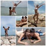 Collage con le coppie sulla spiaggia Fotografia Stock