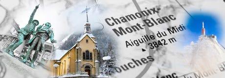 Collage con le foto del punto di riferimento di Chamonix-Mont-Blanc Immagini Stock