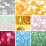 Collage con le luci di natale brillanti Immagine Stock