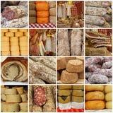 Collage con le salsiccie italiane tipiche tradizionali Fotografie Stock