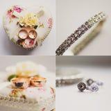 Collage con los accesorios nupciales, novia de la boda Imágenes de archivo libres de regalías