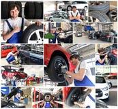 Collage con los motivos en un taller de reparaciones del coche - reparación del coche, cambio t foto de archivo libre de regalías