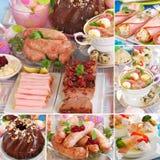 Collage con los platos polacos tradicionales de pascua Foto de archivo