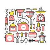 Collage con los utensilios y los dispositivos de la cocina Fotografía de archivo