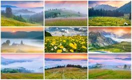 Collage con 9 paesaggi variopinti di estate Fotografie Stock Libere da Diritti