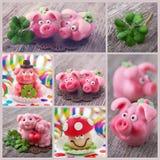 Collage con símbolos de la suerte Imagen de archivo libre de regalías