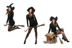 Collage con tres brujas en diversas actitudes Imagenes de archivo