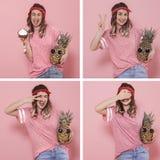 Collage con una mujer joven con diversas emociones imagen de archivo libre de regalías