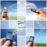 Collage. Concepto de la comunicación. Fotos de archivo libres de regalías