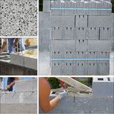 Collage concrete brick wall Stock Photography