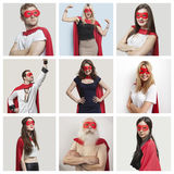 Collage of confident people wearing superhero costumes Royalty Free Stock Image