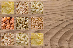 Collage consisting of different rice grains. Such as brown, rose, wild, arborio, basmati. Food background. Healthy lifestyle concept. Closeup macro shot Stock Image