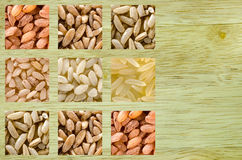 Collage consisting of different rice grains Stock Photography