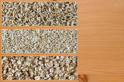 Collage consisting of different wheat types. Collage consisting of spelt and cut wheat and wheat flakes. Food background. Healthy lifestyle concept. Closeup royalty free stock image