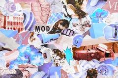 Collage contemporáneo hecho a mano hecho de revistas y de papel colorido imagen de archivo libre de regalías
