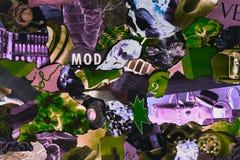 Collage contemporáneo hecho a mano hecho de revistas y de papel colorido foto de archivo libre de regalías