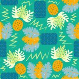 Collage contemporary floral seamless pattern. Modern exotic jungle fruits and plants. Creative design leaves pattern royalty free illustration