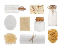 Collage of cosmetic product objects isolated on white background.  royalty free stock photos