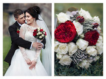 Collage of a couple of newlyweds hugging and a closeup shot of a Stock Photography
