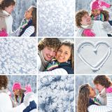 Collage of couple in wintertime Royalty Free Stock Photography