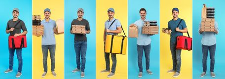 Collage of courier with orders on color background. royalty free stock photography