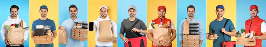 Collage of courier with orders on color background. stock photos