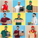 Collage of courier with orders on color background. royalty free stock image