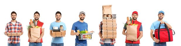 Collage of courier with orders on white. Food delivery. Collage of courier with orders on white background. Food delivery royalty free stock photos