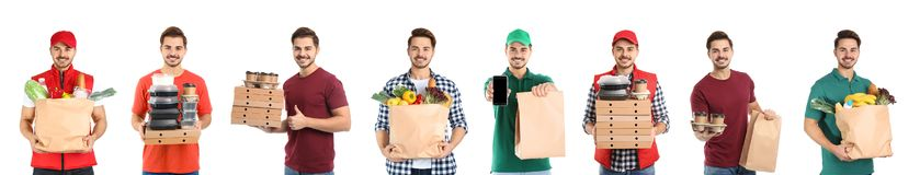 Collage of courier with orders on white background. stock images