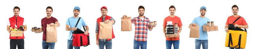 Collage of couriers with orders on white background stock photo