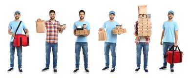 Collage of couriers with orders on white. Food delivery. Collage of couriers with orders on white background. Food delivery stock photo