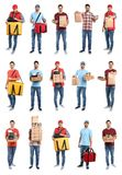 Collage of couriers with orders on white. Food delivery. Collage of couriers with orders on white background. Food delivery stock images